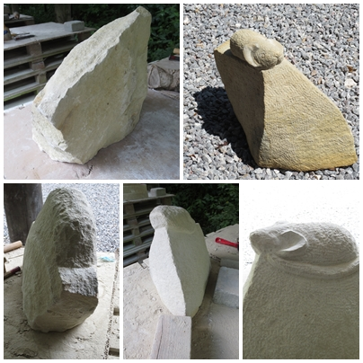 Bentheimer Sandstein, ca. 30 kg, entstanden während der Borgholzhausener Sommerakademie  2015